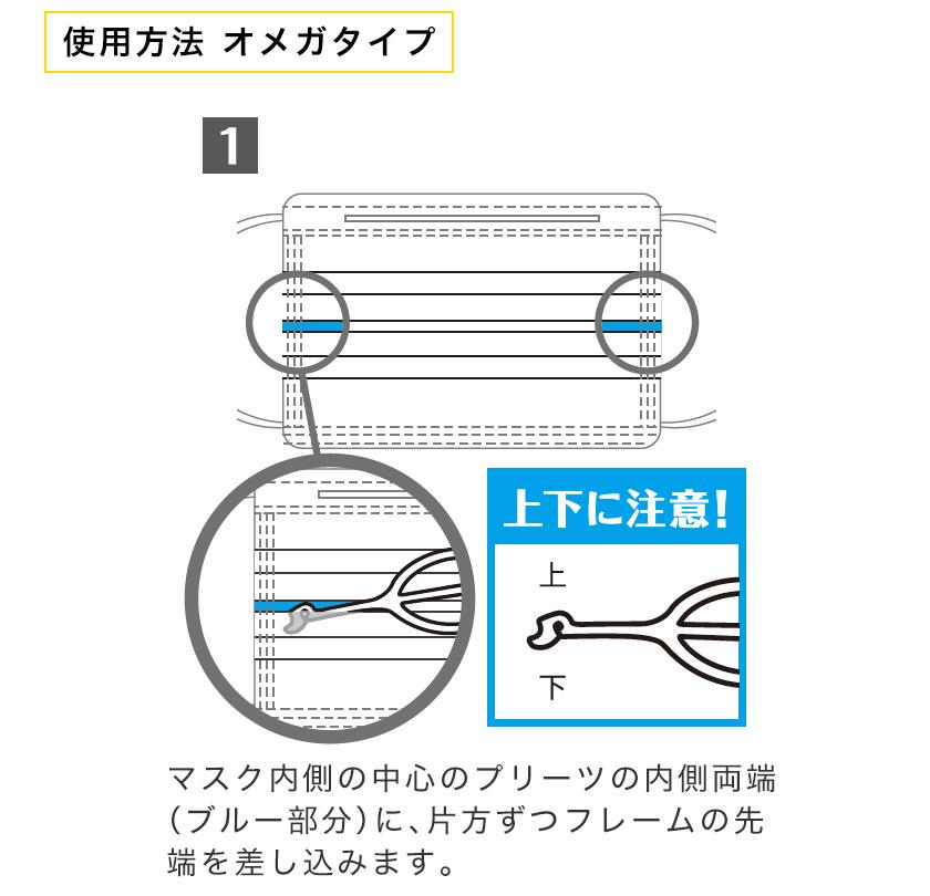 1.マスク内側の中心のプリーツの内側両端に、片方ずつフレームの先端を差し込みます。